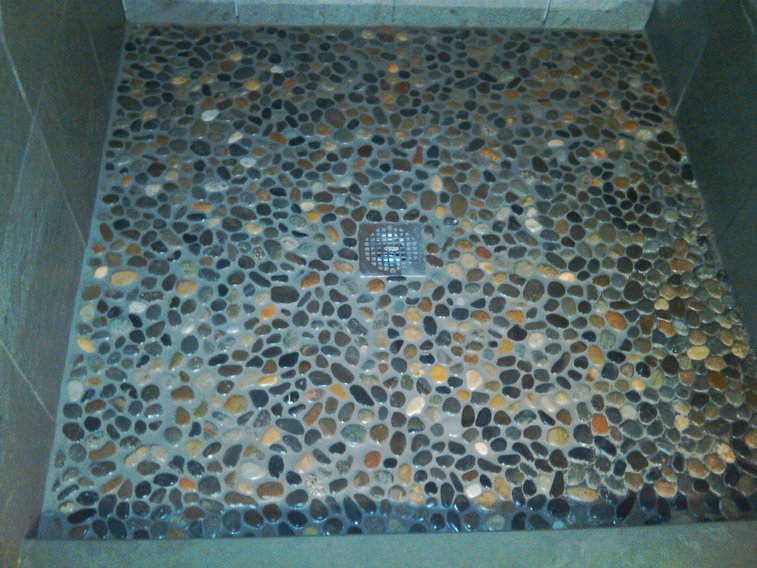 Perfect How To Tile A Shower Floor Using River Rock