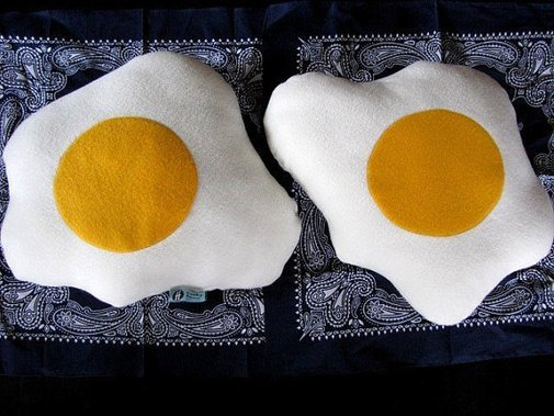 Plush Fried Eggs Pillows Geek Chic Home Decor by freakyfleece ...
