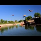 Double Human Slingshot Launches Daredevils into a Lake
