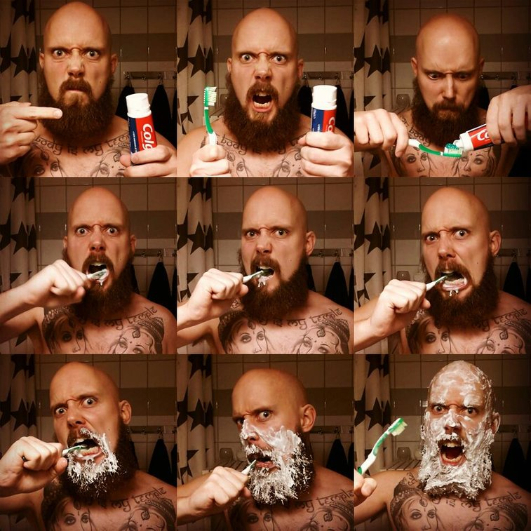 How Real Men Brush Their Teeth
