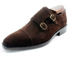MTO Double Monk Strap Shoe in Dark Brown Suede Leather