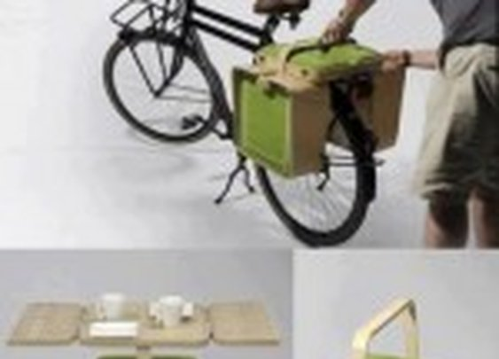 The Amazing Pictures » The Most Amazing Pictures On The Internet. » Bike Rack Picnic Basket With Table and Chairs