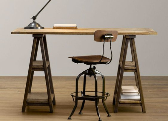 How to Make a DIY Vintage-Inspired Sawhorse Trestle Desk   Man Made DIY   Crafts for Men   Keywords: industrial, diy, woodworking, how-to