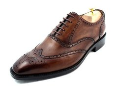 Hand-painted calf leather 'Classic' wing tip brogues