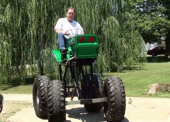 Awesome Monster Lawn Mower - Start-up and Drive - YouTube