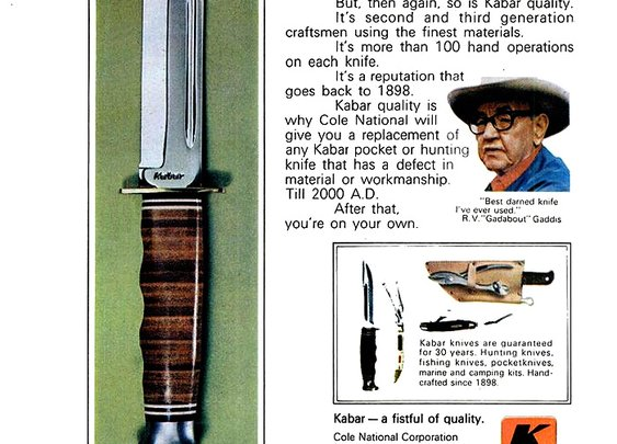 Old Fishing Photos  - Kabar Knife Print Ad, 1970