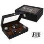 J.G. Raines Fiducia 6-pc Watch Box - Black Leather