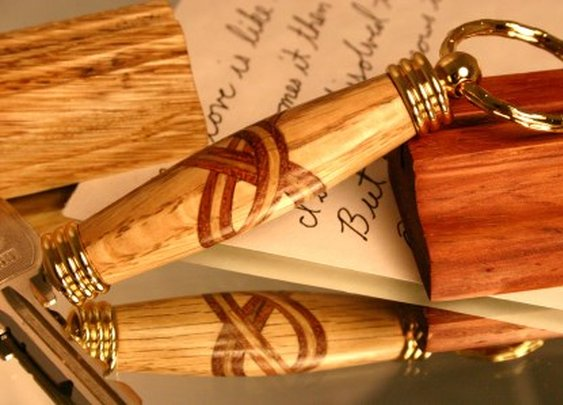 Celtic wood keychain with secret compartment by Hope & Grace Pens