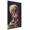 Skull of a Skeleton with Burning Cigarette Stretched Canvas Print