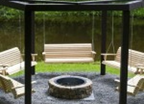awesome fire pit bench swings