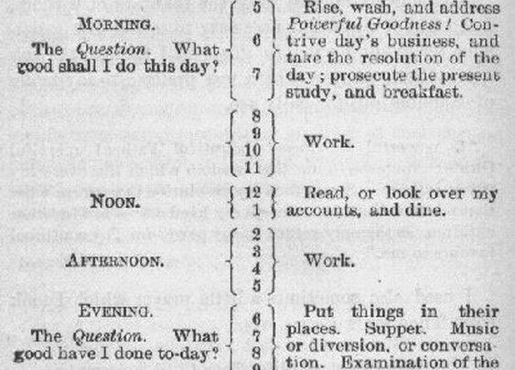 Benjamin Franklin's Daily Schedule