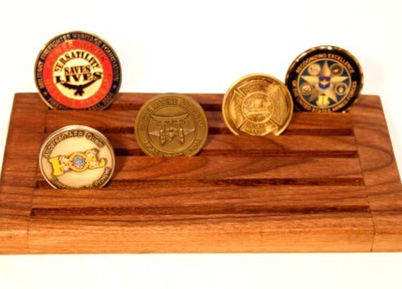 Black walnut display rack for military coins by Hope & Grace Pens