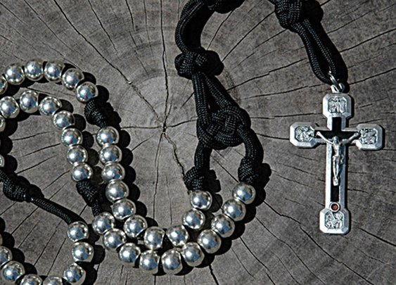 Four Evangelists Crucifix Rosary on Black Paracord   CordBands