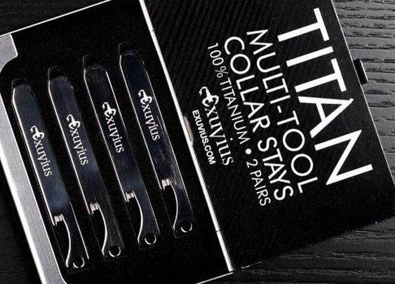 Titan Titanium Multi-Tool Collar Stays — The Man's Man