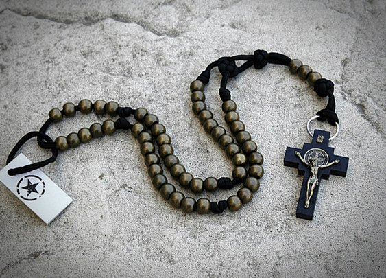 Black Paracord with Wooden Black St. Benedict Crucifix   CordBands