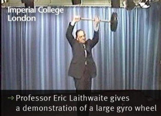 Demonstration of a Large Gyro Wheel by Professor Eric Laithwaite