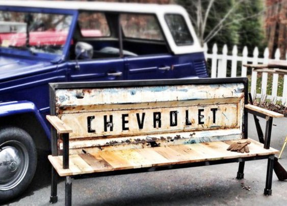 Recycled Tailgate Benches // Yesterday Reclaimed