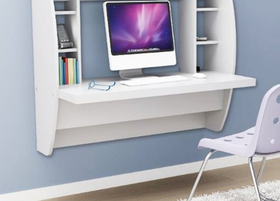 Prepac Floating Desk with Storage - White