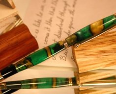 Pen stylus in swirling Green and dappled black by Hope & Grace Pens
