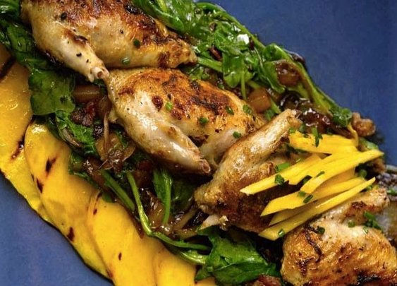 Try this grilled quail with mango and arugula recipe for an exotic dinner that's entirely classy and healthy. | Food Republic