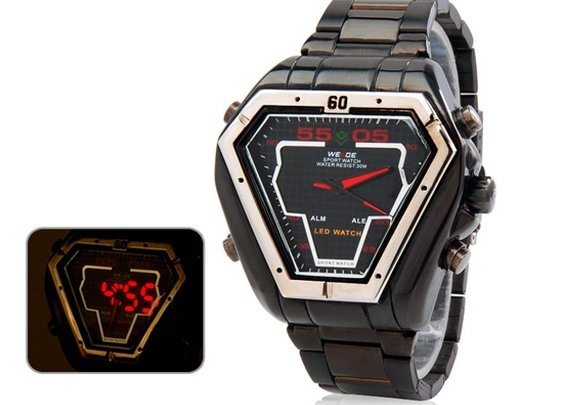 Analog & LED Display Watch with Stainless Steel Strap