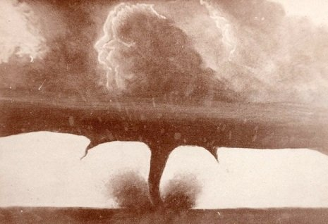 One of the First Tornados to be Photographed.  Howard, South Dakota, 1884