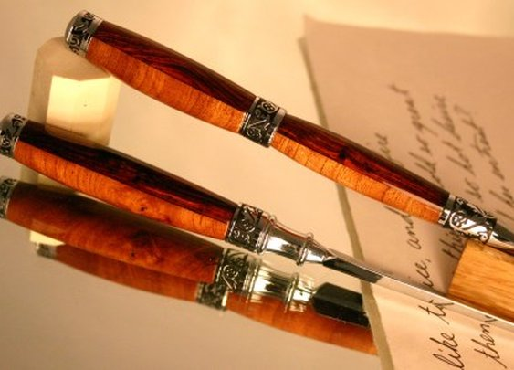 Letter opener and wood pen set dark and light wood by Hope & Grace Pens