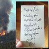 The incredibly polite note left by firefighters...
