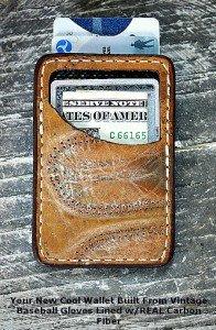 Front Pocket Wallet Constructed From Vintage Baseball Gloves