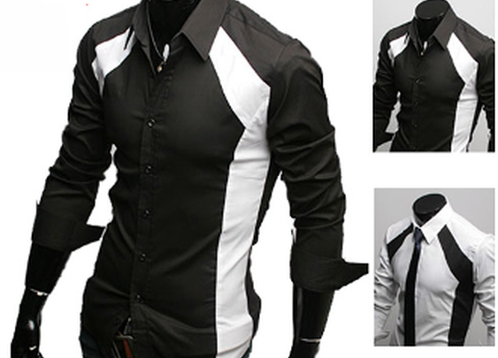 Men's Contrasting Color Slim Fit Shirt