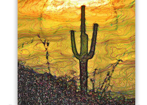 Cactus Print Southwest Abstract Abstract Art by MurrayBolesta