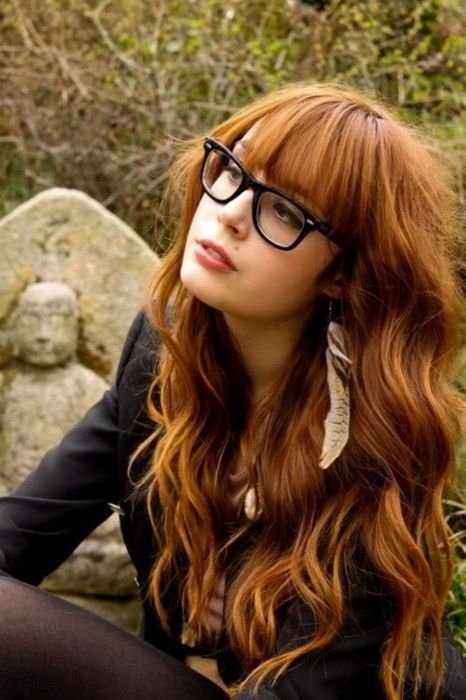 Glasses! Love that hair! She's so cute!