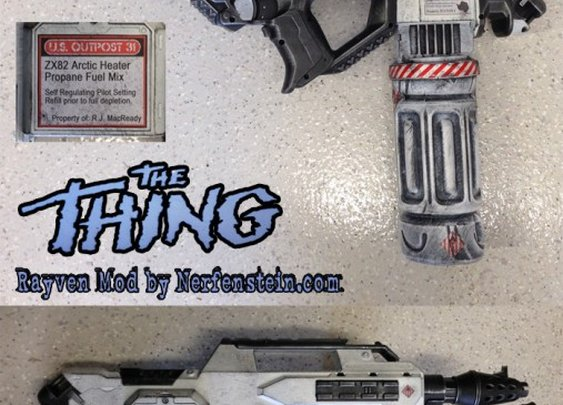The Thing flamethrower Nerf Rayven mod prop by artist / Nerf modder Nerfenstein