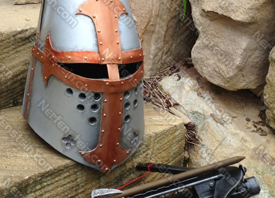 Nerf Rayven crossbow mod and LARP Medieval foam great helm