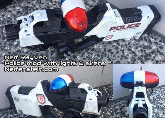 Nerf Rayven police cruiser mod with light and sound by Nerfenstein
