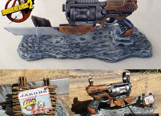 Borderlands Jakobs Law pistol variant prop and display by prop maker / artist Nerfenstein