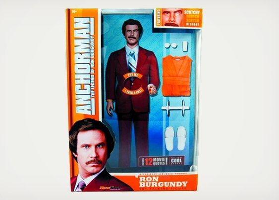 Talking Ron Burgundy Action Figure   Cool Material