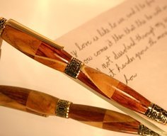 Wood Pen handcrafted hickory and bubinga wave by Hope & Grace Pens