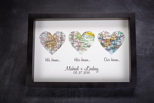 Diy Map Wedding Gift : Atlas Map Hearts Print Wedding Gift Define Design 11 Bourbon ...