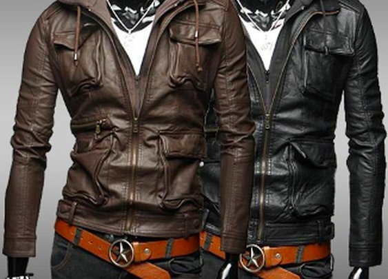 Men's PU Leather Hooded Jacket with Pockets