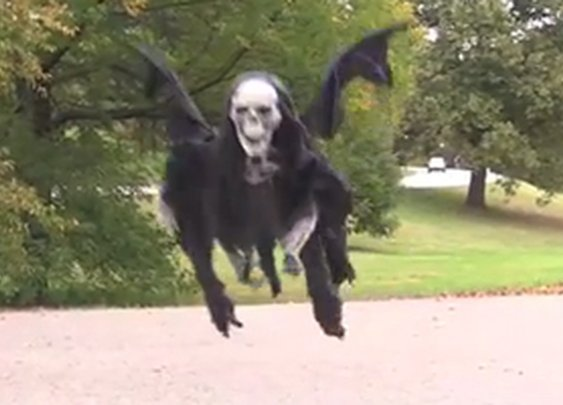 Comedian builds flying reaper, terrifies people