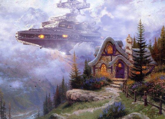 Thomas Kinkade Paintings Get Upgraded With Star Wars   Geekologie