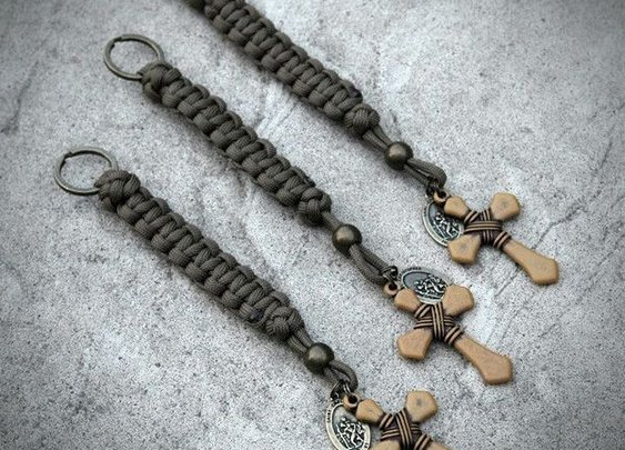 Coyote Brown Carved Cross Lanyard/Key Ring