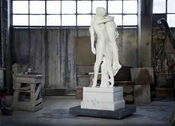 Stunning White Marble Sculpture: Ballerina and a Boy - My Modern Metropolis
