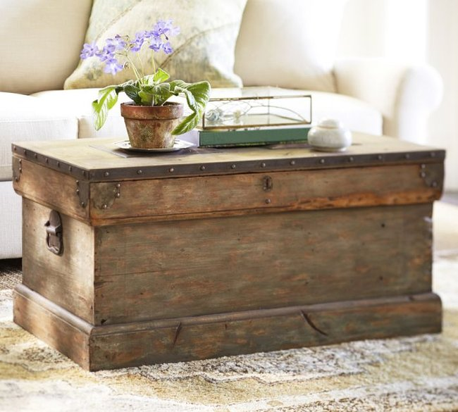 POTTERY BARN TRUNK - look-a-like This photo has been. in my idea folder for. some time and when. REBECCA. The Rebecca is the lovely rustic trunk available. in the photo from Pottery Barn for over $ It has wonderful worn edges and unbelievable character. The problem was it was too worn in places to look good I loved the original.