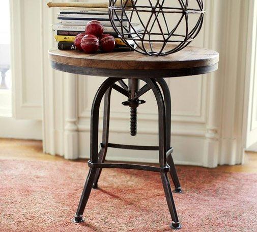Weldon Adjustable Metal Amp Wood Side Table Gentlemint