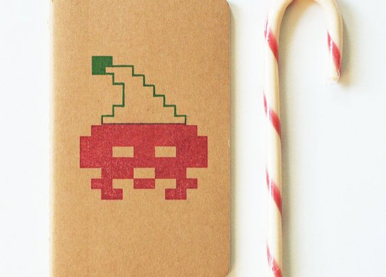 Retrogaming stocking stuffer 8 bit santa by blackbirdandpeacock
