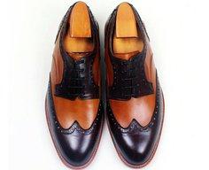Custom two tone wing brogue derby shoe
