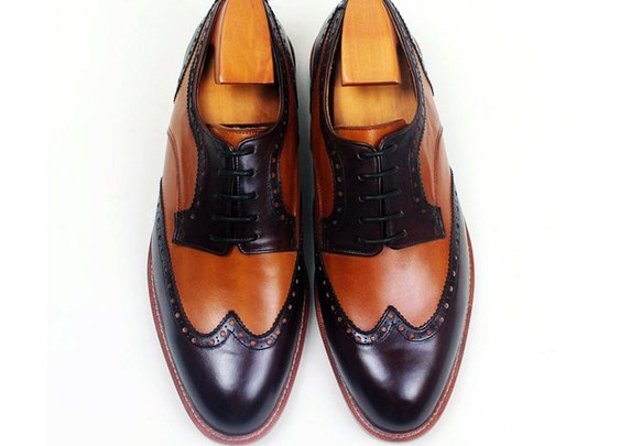 Custom two tone wing brogue derby shoe
