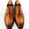 Hand-painted tan patina Oxford lace up shoes